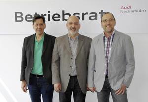 Die wiedergewählte Betriebsratsspitze am Standort Neckarsulm (von links nach rechts): Rolf Klotz, Norbert Rank, Wolfgang Lindenmaier.