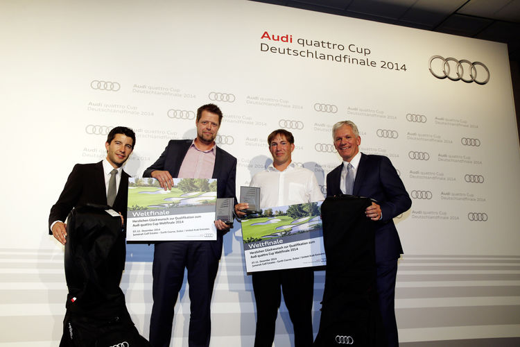 Nico Schellhase and Sebastian Topel with Alexander Schuhmacher (AUDI AG) and DTM driver Mike Rockenfeller