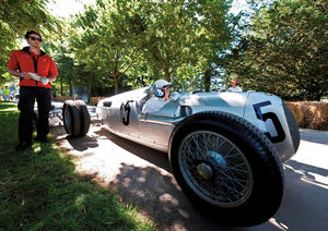 Auto Union Type C Silver Arrow from 1936: with twin spare tires at the Techno Classica.