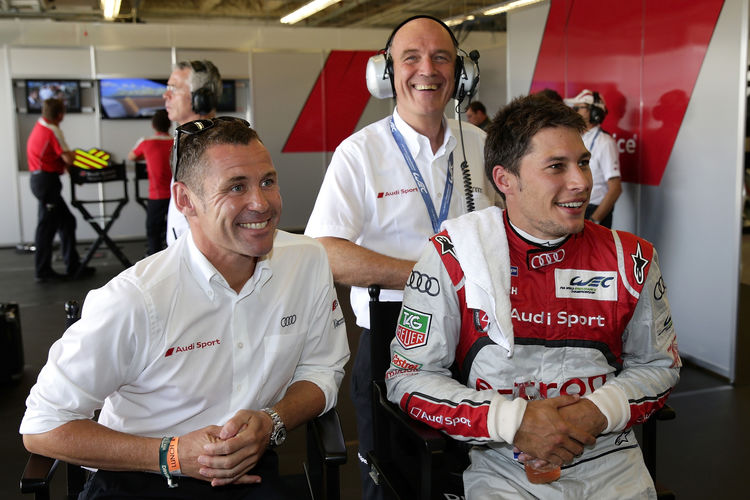 Tom Kristensen, Loïc Duval and Dr. Wolfgang Ullrich