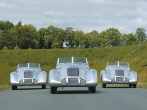 "After 65 years back again: The three Auto Union ""Wanderer Streamline Specials""."