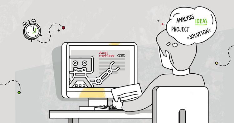 Virtuelle Roboter unterstützen Audi-Mitarbeiter am PC