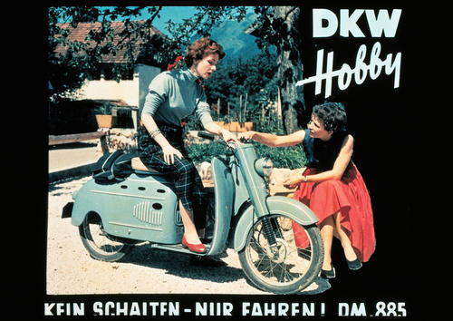 DKW Hobby scooter, 74 ccm, 3 bhp, one-cylinder two stroke engine, top speed 60 km/h, Uher automatic transmission