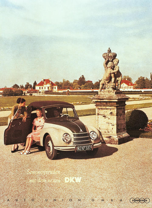 DKW F89 Meisterklasse Cabriolet; two-cylinder two-stroke engine; 700 cc, 23 bhp.