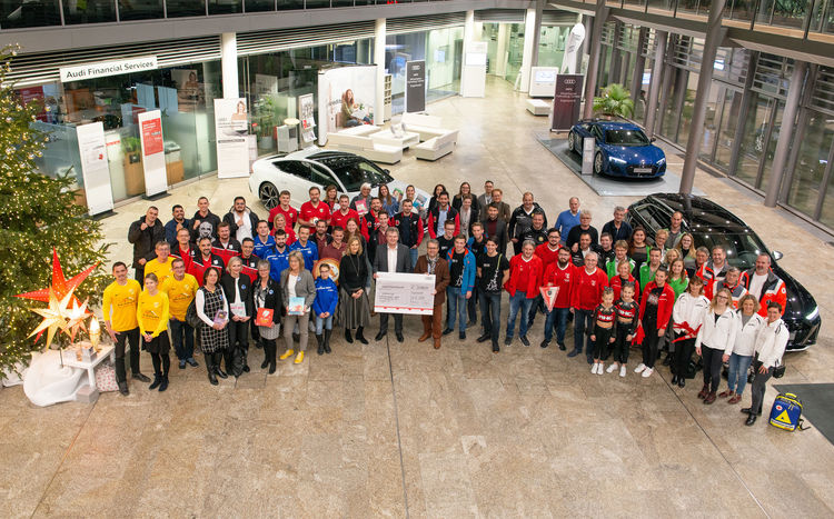 Teamgeist 2019: Audi honored voluntary engagement and presented donations in the total amount of 29,000 Euro to 18 facilities around the Ingolstadt location.