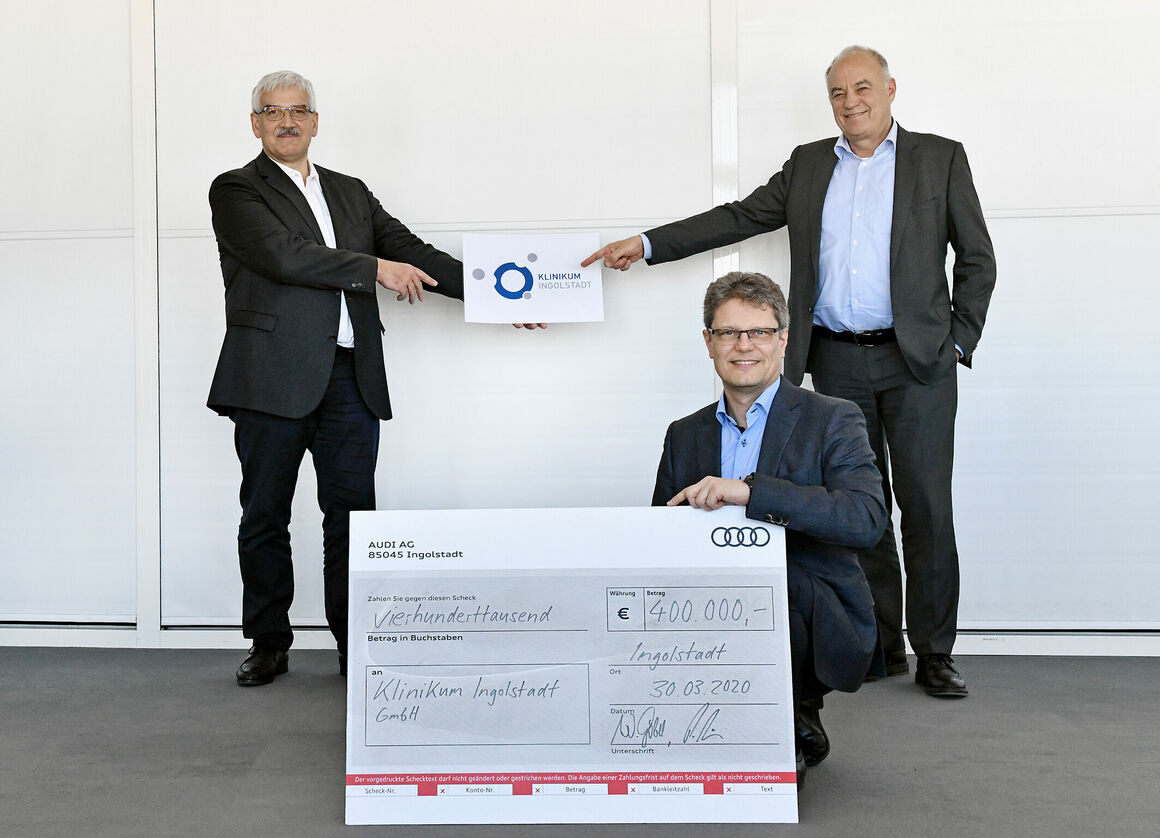 Corona aid: Audi donates 600,000 euros to hospitals at its sites in Germany