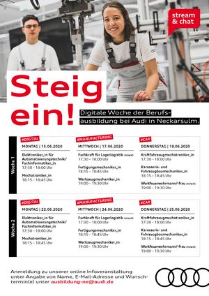 Stream & Chat: Digitale Infowochen zur Berufsausbildung bei Audi