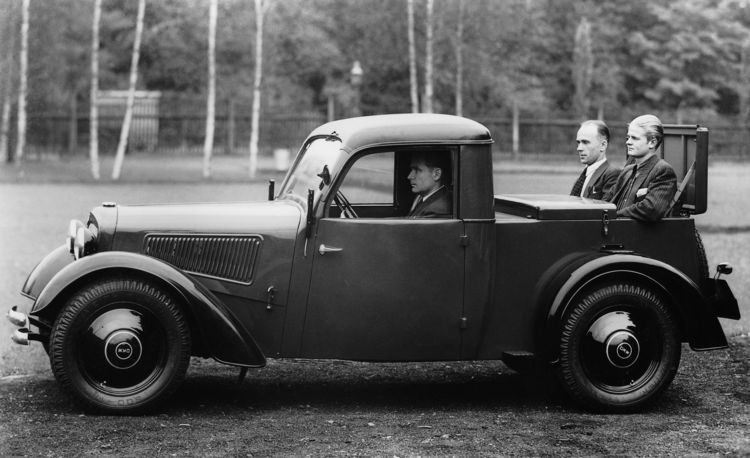 DKW F7 implement truck, 700 cc, two-cylinder, two-stroke transverse engine, front-wheel drive, 20 hp (also capable of carrying passengers).