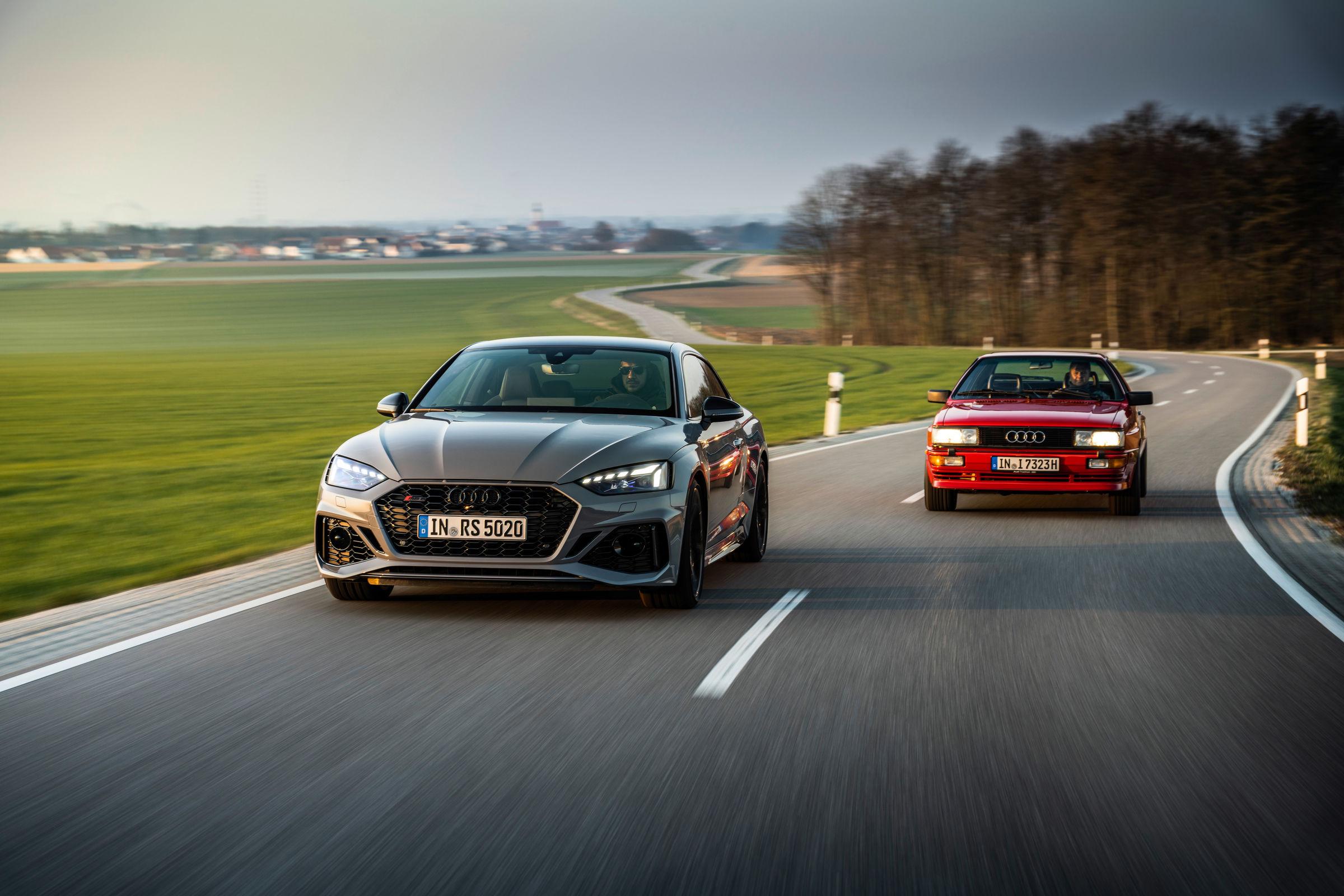 Audi RS 5 und historischer Audi quattro