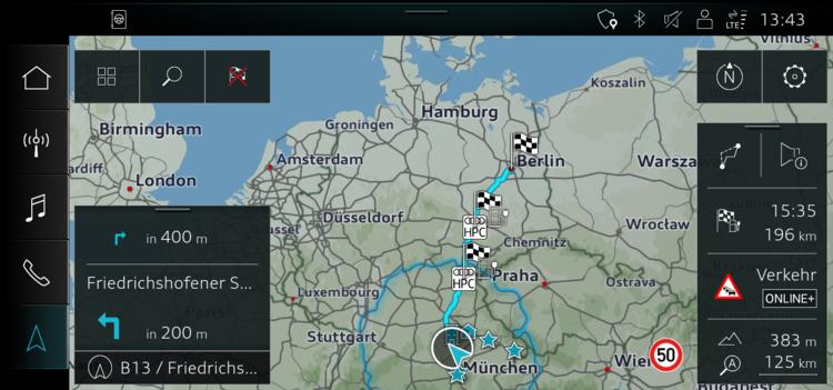 Audi e-tron route planner