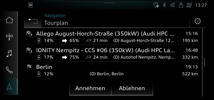 Pianificatore di percorso Audi e-tron