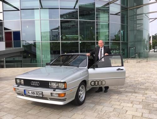 """Thomas Frank, Leiter Audi Tradition und Auto Union GmbH bis 31.12.2020, und dem legendären """"Ur-quattro"""""""