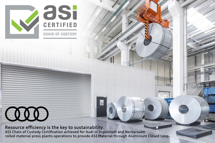 Audi is the first car manufacturer to be awarded the Chain of Custody - the certificate of the Aluminium Stewardship Initiative