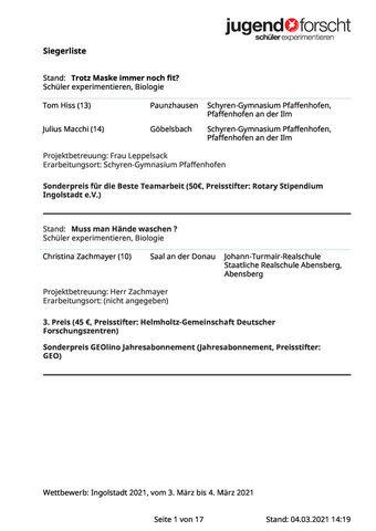 """Siegerliste """"Jugend forscht"""" und """"Schüler experimentieren"""""""