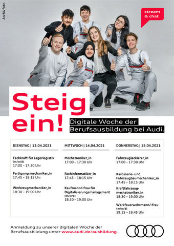 Dates for the digital week of apprenticeships at Audi Ingolstadt.