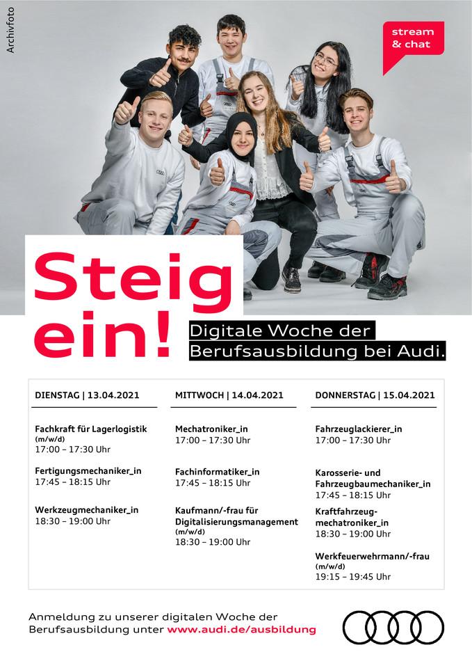 Dates for the digital week of apprenticeships at Audi Ingolstadt.