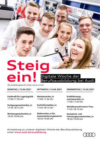 Termine zur digitalen Woche der Berufsausbildung bei Audi Neckarsulm