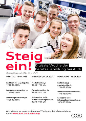 Dates for the digital week of apprenticeships at Audi Neckarsulm.