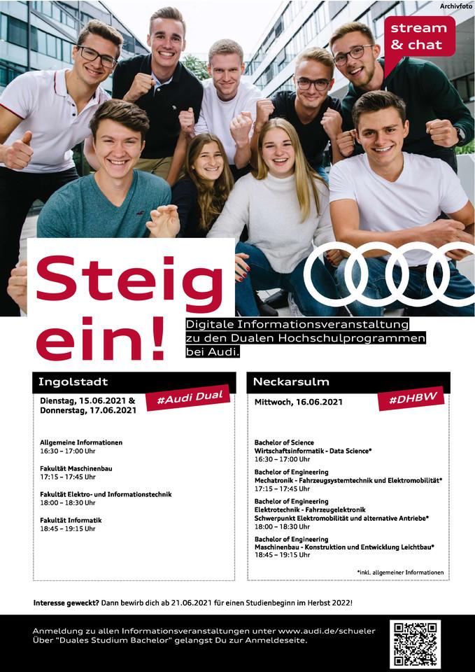 Termine zur digitalen Informationsveranstaltung bei Audi in Ingolstadt und Neckarsulm.