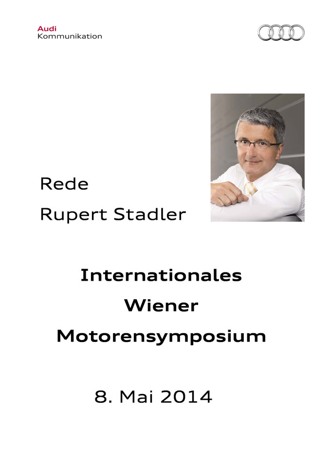 Rede zum Internationalen Wiener Motorensymposium