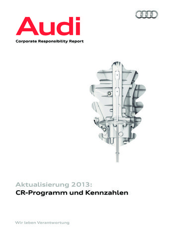 Audi Corporate Responsibility Report - Aktualisierung 2013