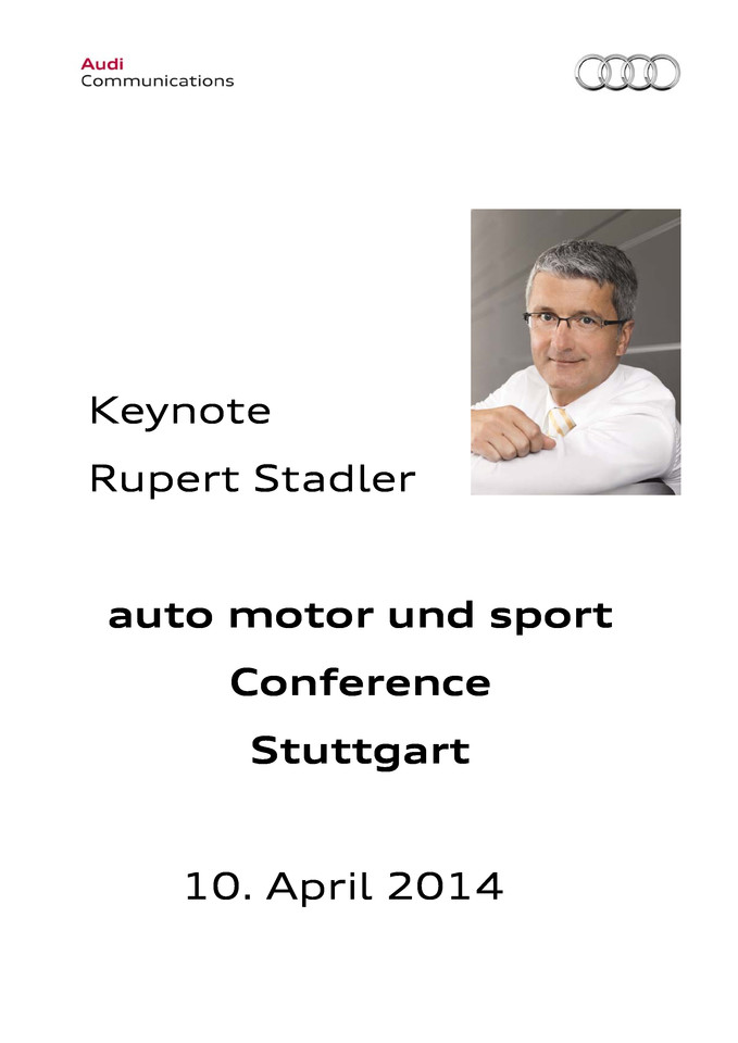 "Keynote at the Conference ""Mobility of the Future"" auto motor und sport"