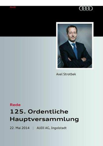 Rede anlässlich der 125. Ordentlichen Hauptversammlung der AUDI AG 2014