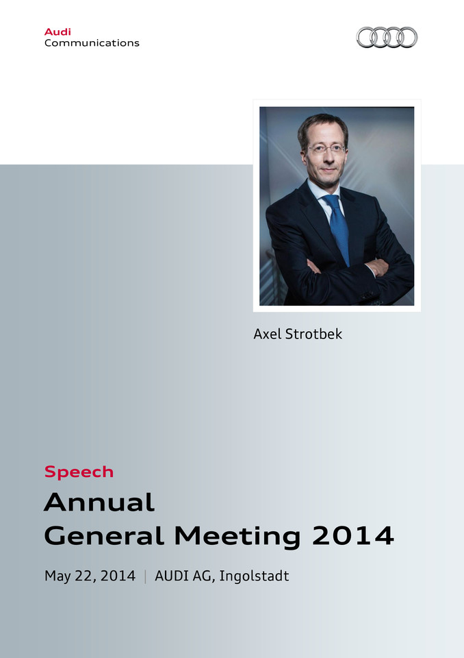 Speech to the  125th Annual General Meeting of AUDI AG