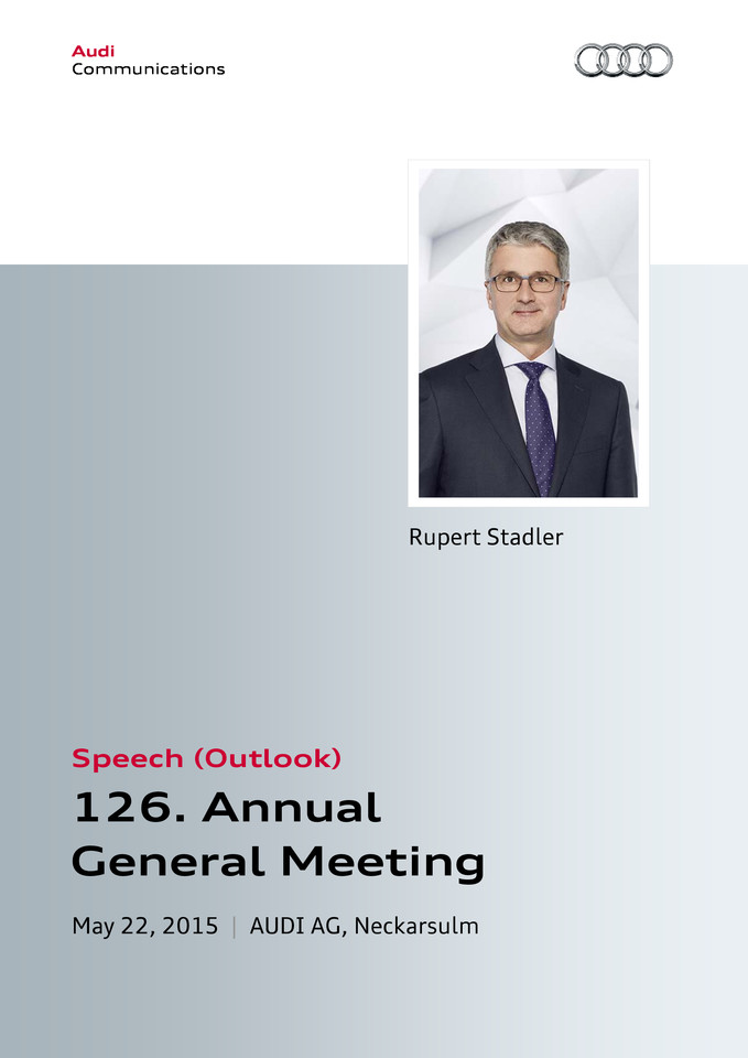 Speech at the 126th Annual General Meeting of AUDI AG — Outlook