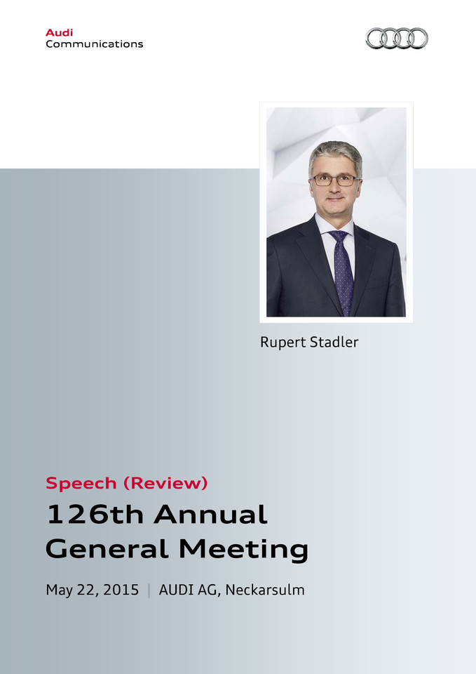 Speech at the 126th Annual General Meeting of AUDI AG