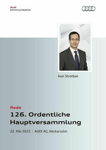 Rede zur 126. Ordentlichen Hauptversammlung der AUDI AG