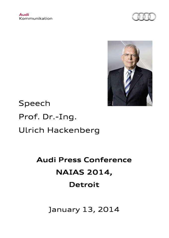 High res 20140114 pressversion naias detroit speech prof dr  ing ulrichhackenberg audi ag