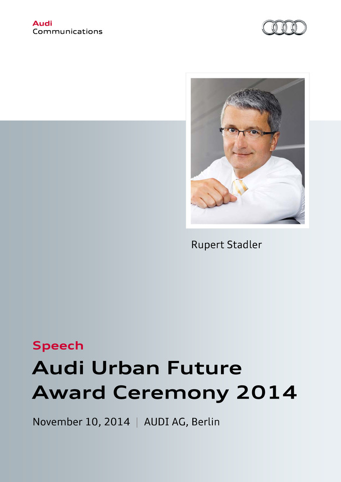 Speech at the Audi Urban Future Award Ceremony 2014