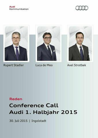 Reden Conference Call Audi 1. Halbjahr 2015