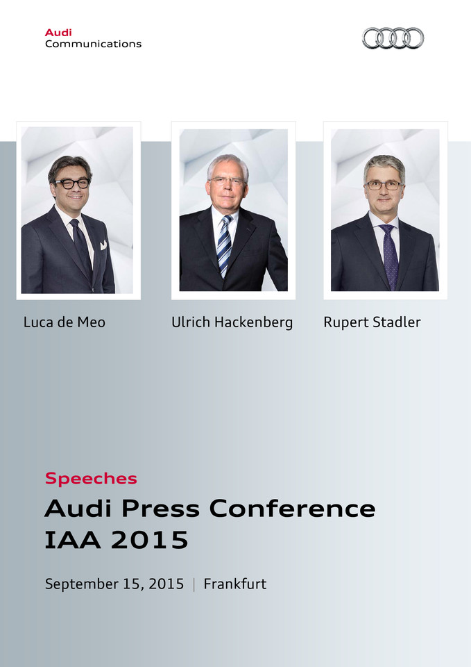 Speeches Audi Press Conference IAA 2015