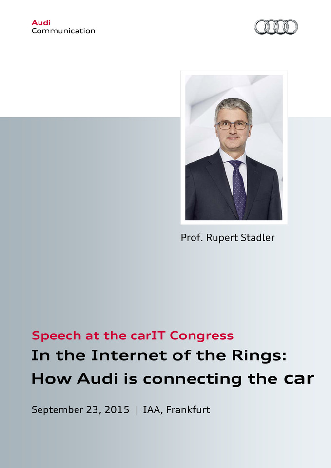 Speech at the carIT Congress