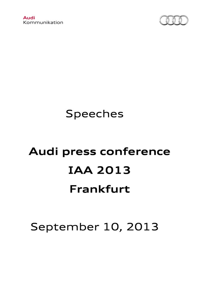 Speeches Audi press conference IAA 2013