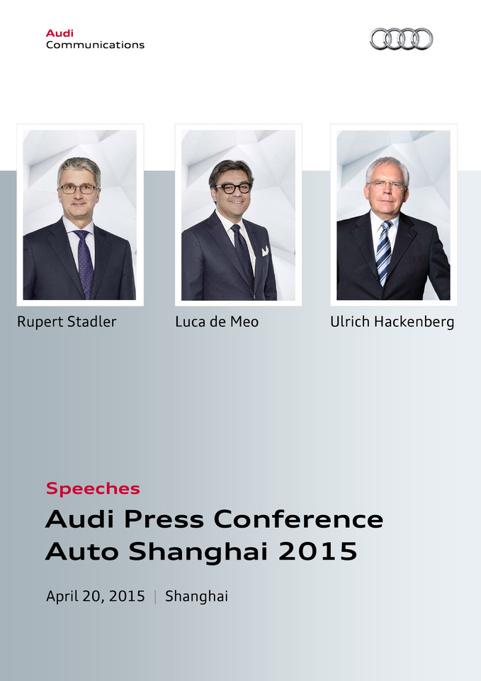 Speeches  Audi Press Conference Auto Shanghai 2015