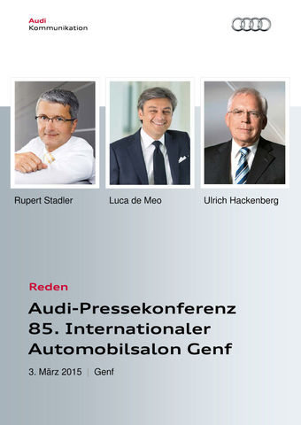 Audi-Pressekonferenz 85. Internationaler Automobilsalon Genf
