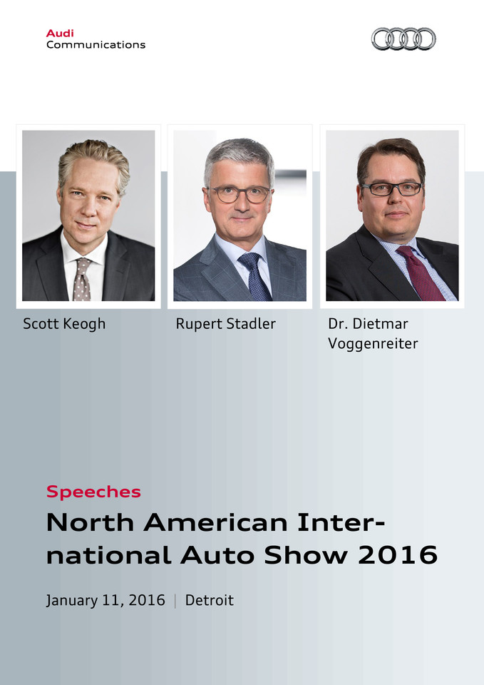 Reden Audi Pressekonferenz North American International Auto Show 2016, Detroit