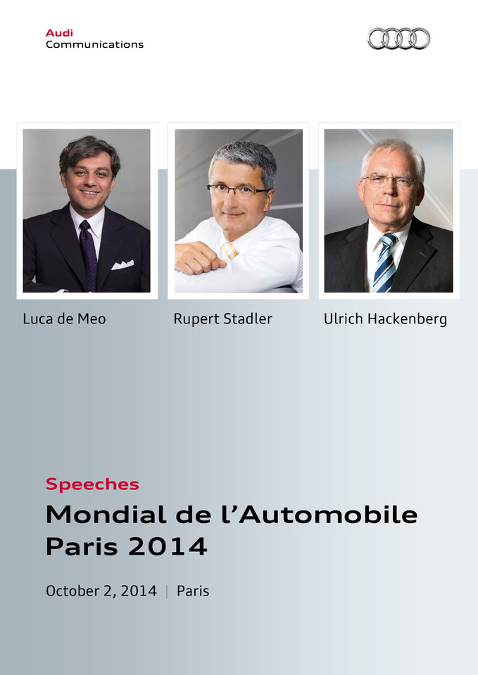 Speeches Mondial de l'Automobile Paris 2014