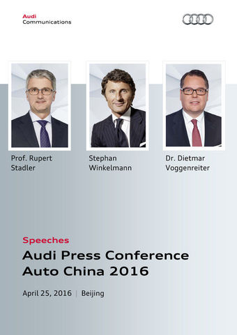 Speeches Audi Press Conference Auto China 2016