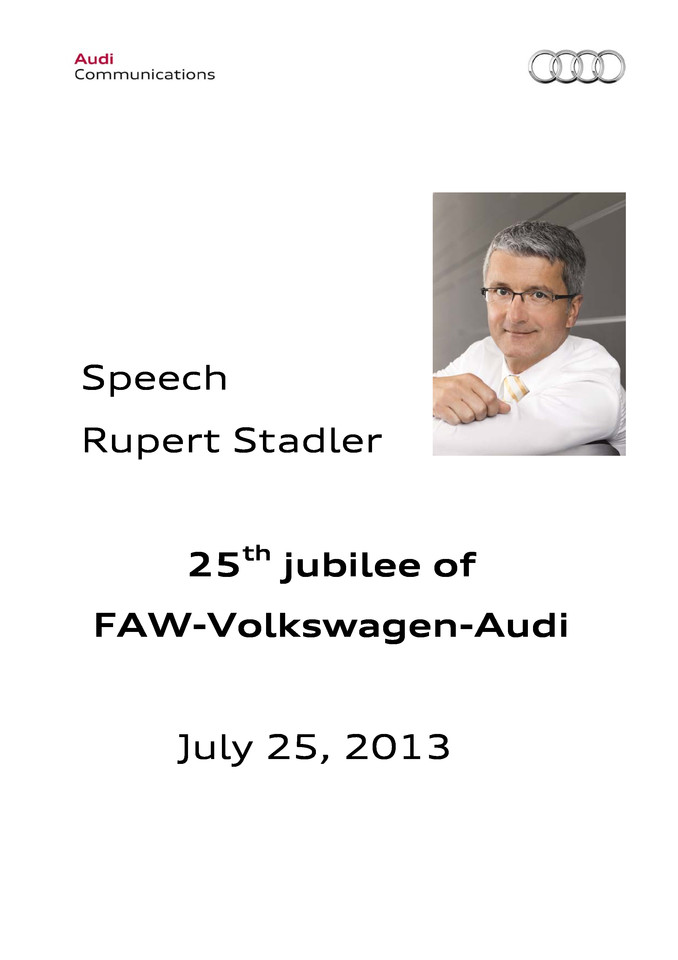 Speech 25th jubilee of FAW-Volkswagen-Audi