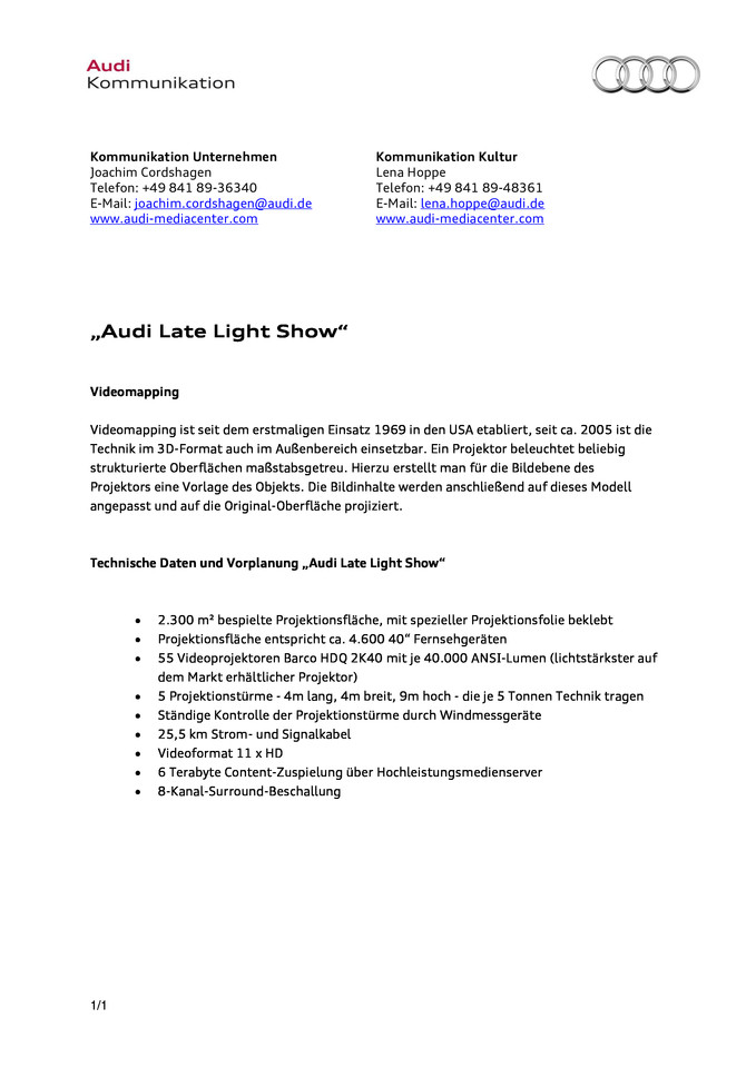 "Factsheet Technische Details ""Audi Late Light Show"""