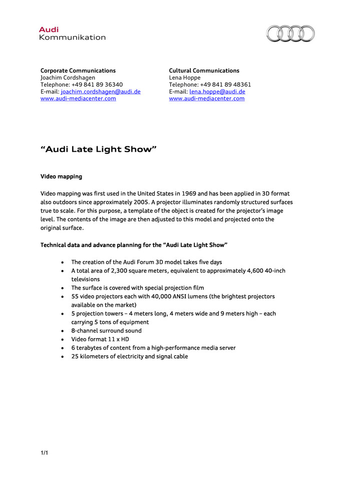 "Factsheet technology ""Audi Late Light Show"""