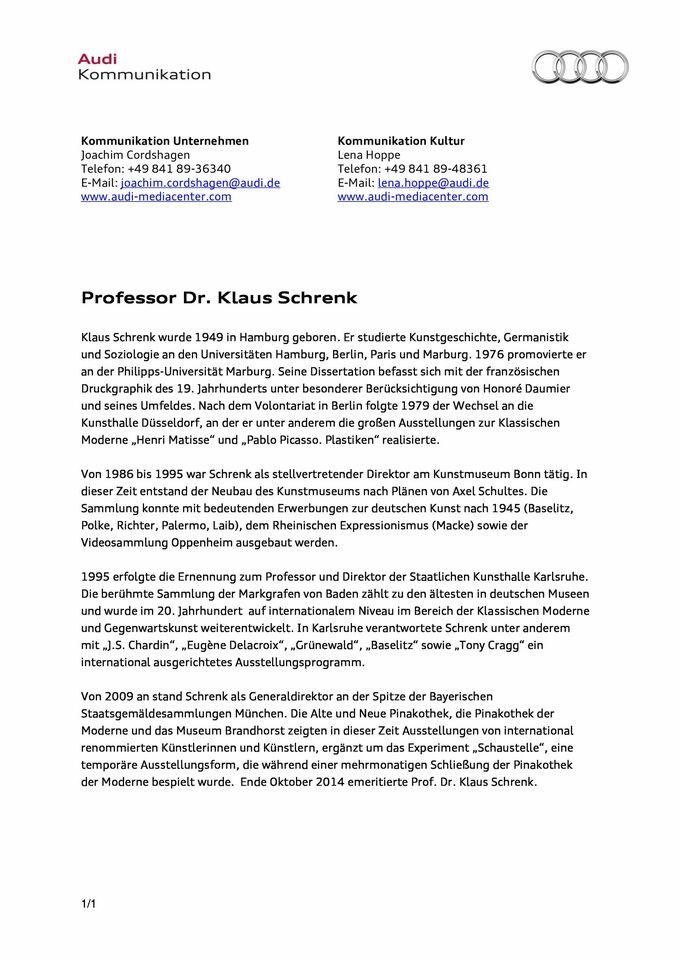Kurzinformation Professor Dr. Klaus Schrfenk