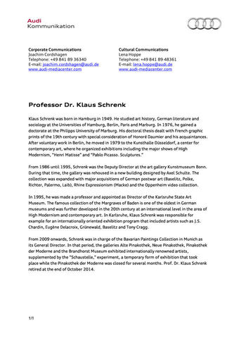 Short information on Professor Dr. Klaus Schrenk