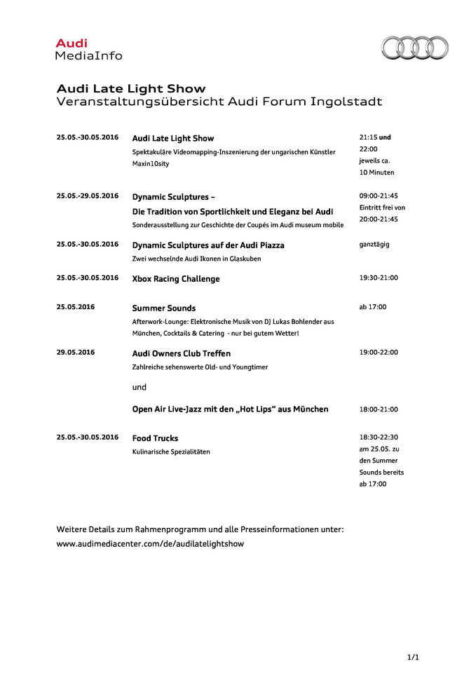 "Veranstaltungsübersicht ""Audi Late Light Show"""