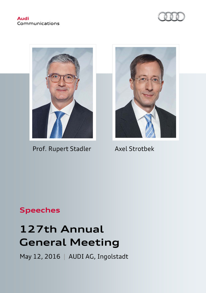 Speech at the 127th Annual General Meeting of AUDI AG