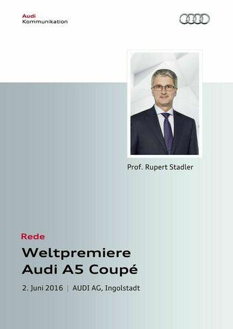 Rede zur Weltpremiere Audi A5 Coupé